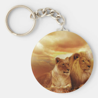 Lions relaxing in Africa Key Ring