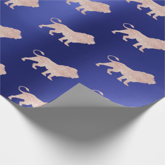 Lions Rose Gold Glam VIP Metallic Sapphire Blue Wrapping Paper