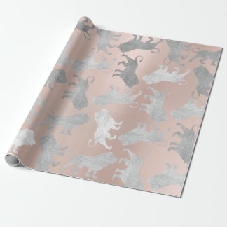 Lions Rose Gold Silver Gray Metallic Sparkly VIP Wrapping Paper