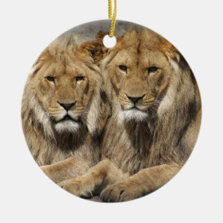 Lions Round Ceramic Decoration