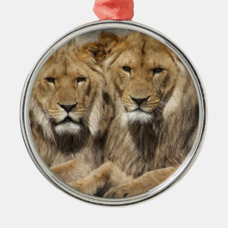 Lions Silver-Colored Round Decoration