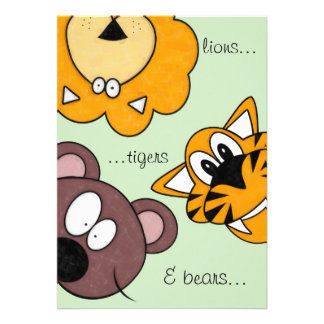 lions, tigers & bears, Oh dear birthday invitation