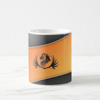 Lionshead On Orange Curved Background Mugs