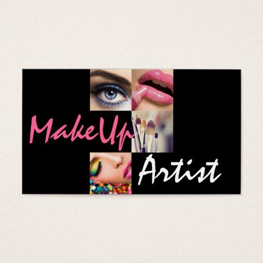 Lip Eyes Brushes MakeUp Artist, Cosmetology, Salon Business Card