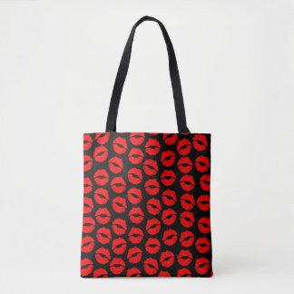 lip stick sexy pattern tote bag
