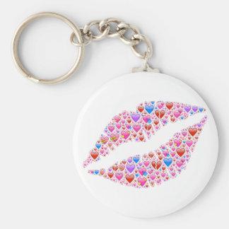 lips-621210 LIPS SMILE KISS LISSES HEARTS LOVE FLI Basic Round Button Keychain