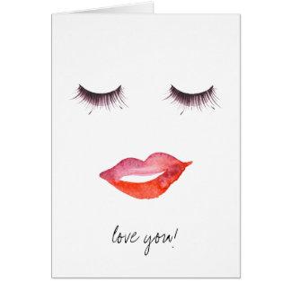 Lips and Eyelashes Card