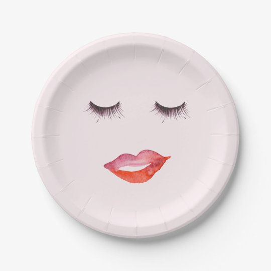 Lips and Eyelashes watercolor 7 Inch Paper Plate