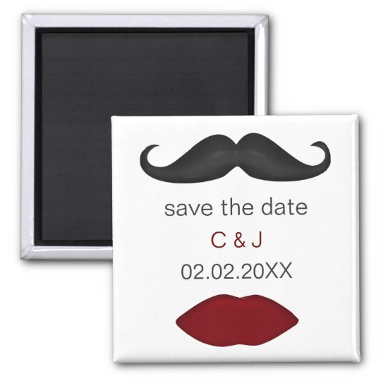 lips and moustache mod save the date magnets
