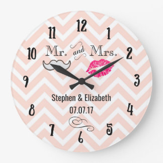 Lips and Moustache on Peach Chevron Wedding Large Clock