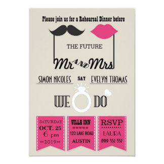 Lips and Mustache Typography Chic Rehearsal Dinner 13 Cm X 18 Cm Invitation Card