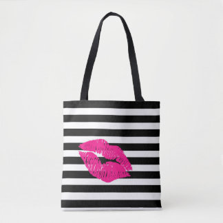 Lips, hot pink lips, pink lips, make up art, lips tote bag