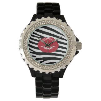 Lips kiss fashion girly trendy glamour zebra watch