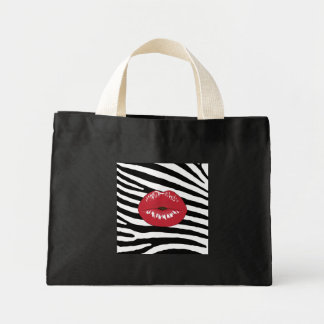 Lips kiss girly fashion glamour trendy stylish mini tote bag