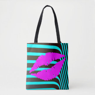 Lips kiss  makeup beauty fashion glamour trendy tote bag
