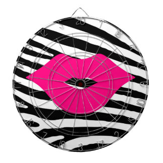 Lips kiss zebra fashion girly trendy glamour style dartboard