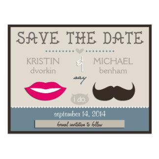 Lips & Moustache Postcard