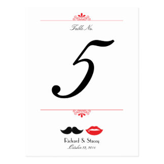 Lips & Moustache Wedding Table Number Postcard