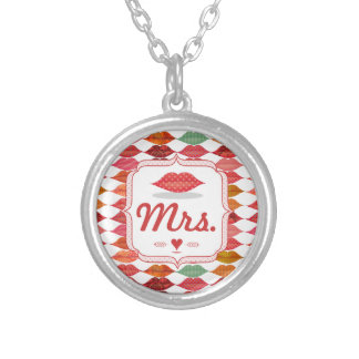 Lips Mrs. Hipster Vintage Retro Bride Personalized Necklace