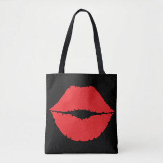 Lips Red Kisses Lip Graphic Kiss Mark Tote Bag