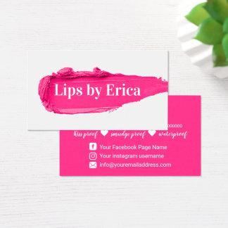 Lipsense Distributor Pink Lipstick Makeup Artist Business Card