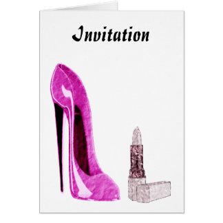 Lipstick and Pink Stiletto Shoe Art Card
