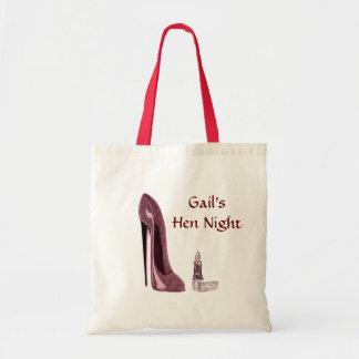 Lipstick and Red Stiletto Shoe Tote Bag