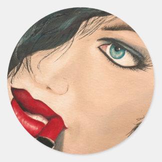 Lipstick Classic Round Sticker
