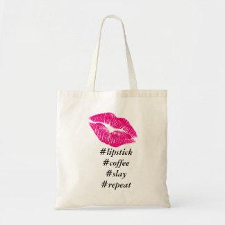 Lipstick Coffee Slay Repeat Tote