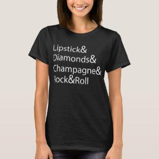Lipstick Diamonds Champagne Rock And Roll T-Shirt