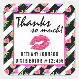 Lipstick Distributor Glam Rose Kiss Thank You Square Sticker