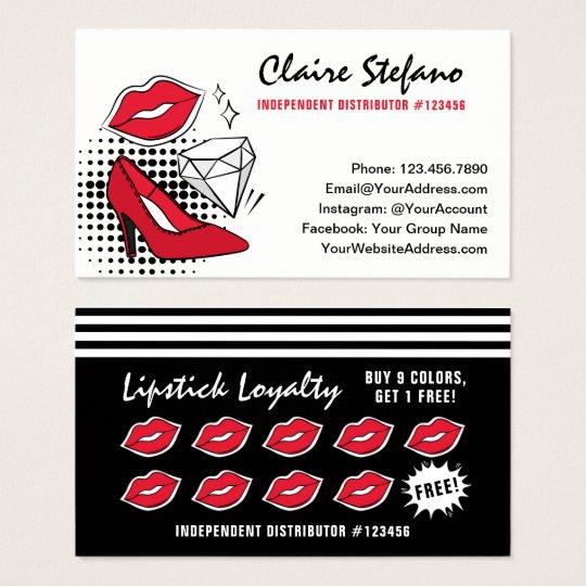 Lipstick Distributor Modern Glamour Loyalty Stamp Business Card