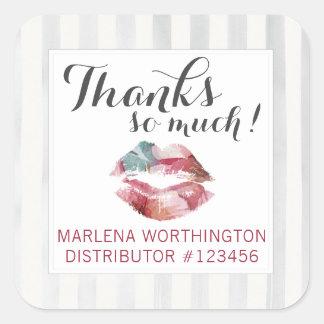Lipstick Distributor Watercolor Kiss Thank You Square Sticker