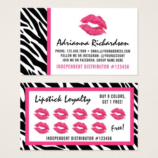 Lipstick Distributor Zebra Kiss Lips Loyalty Punch Business Card