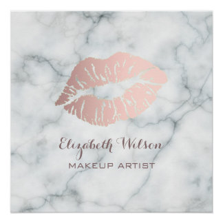 lipstick kiss on marble makeup artist poster