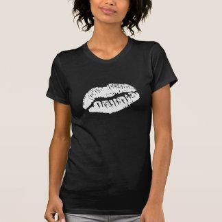Lipstick Kiss White on Black Shirt