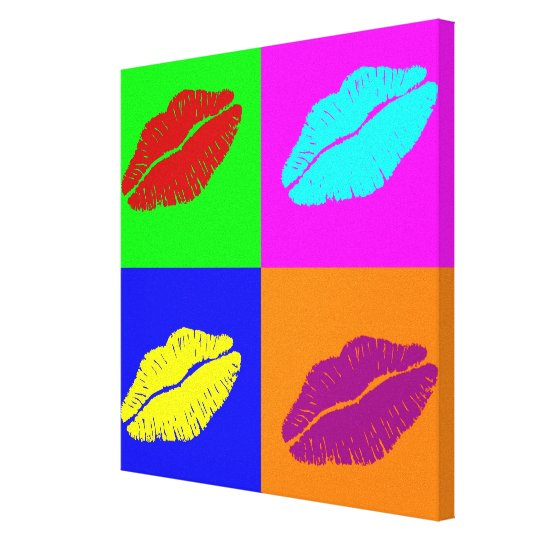 Lipstick kisses wrapped canvas