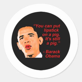 Lipstick Obama Comment Round Sticker