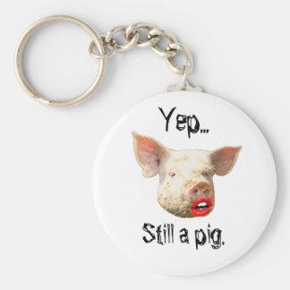 Lipstick on a Pig Basic Round Button Key Ring