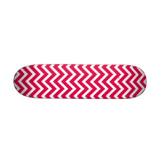 Lipstick Pink and White Chevron Zig Zag Custom Skate Board