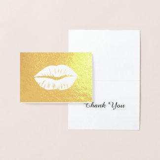 Lipstick Print Thank You Gold Foil Card
