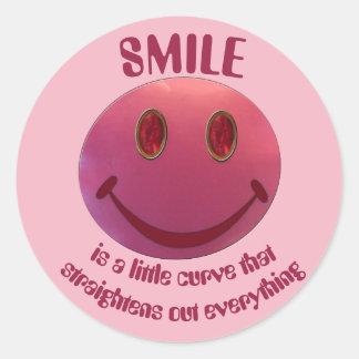 Lipstick Smiley Face Classic Round Sticker