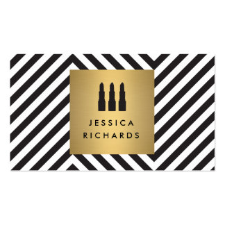 Lipstick Trio Logo on Retro Black/White Pattern II Pack Of Standard Business Cards