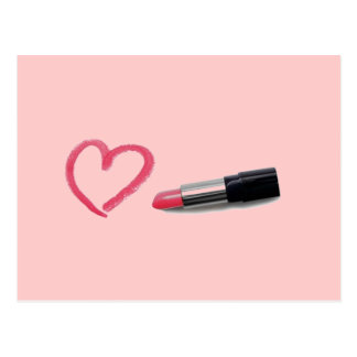 Lipstick with heart design post cards