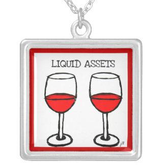"""LIQUID ASSETS"" FUN RED WINE PRINT SQUARE PENDANT NECKLACE"