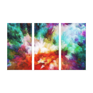 Liquid colors abstract triptych artwork, 3 panels stretched canvas prints