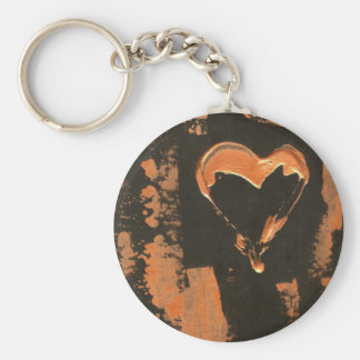 Liquid Copper Heart Basic Round Button Key Ring