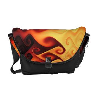 Liquid flames (orange) messenger bags