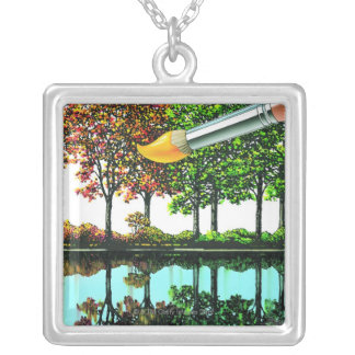 Liquid Library 9 Silver Plated Necklace
