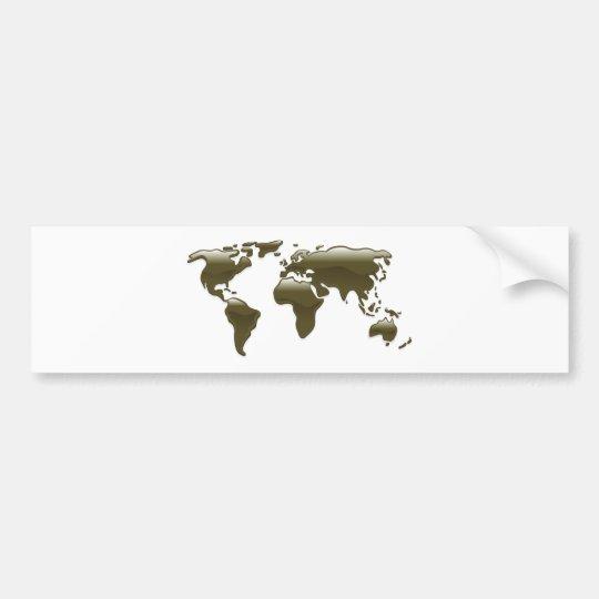 Liquid oil world map bumper sticker